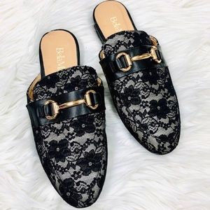 NEW Black Lace Mule Flats (various sizes avail)